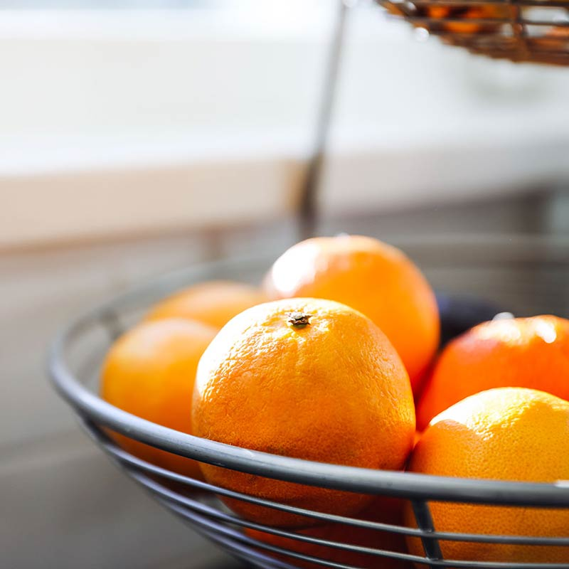 Basket of oranges in Judy Chambers kitchen
