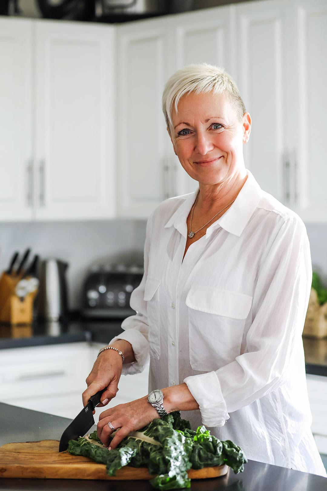 Holistic Nutritionist Judy Chambers of Dynamic by Nature in her Vancouver kitchen